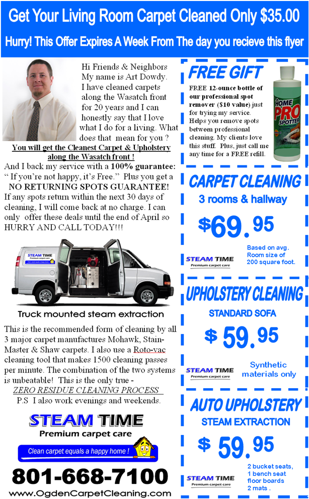 Steam Time Carpet Care Offers Special Cleaning Deals Every Week